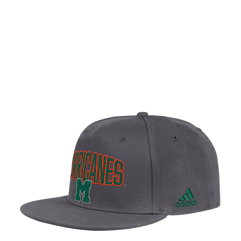 Miami Hurricanes adidas 2019 Speed Arch Flat Visor Flex Hat - Dark Grey