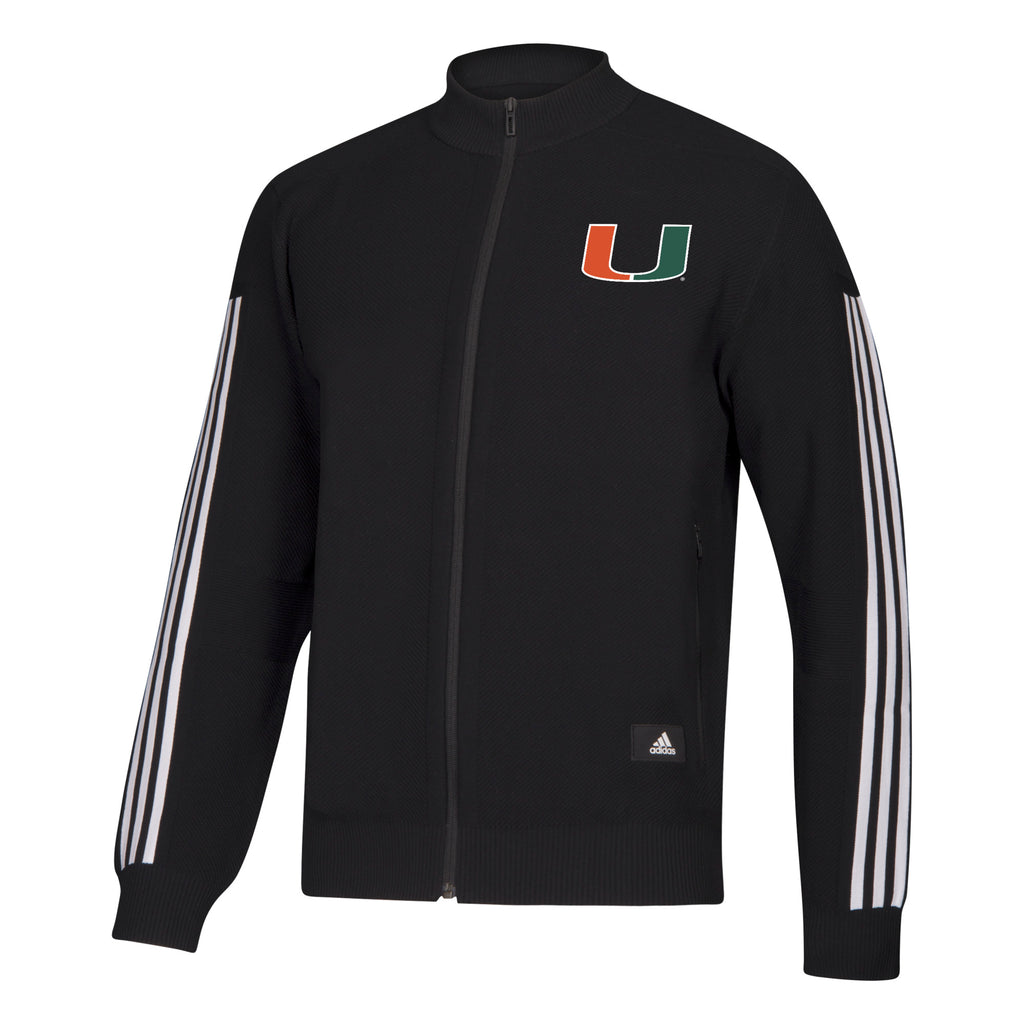 Miami Hurricanes 2019 Stadium ID Long Sleeve Knit Track Top - Black and White
