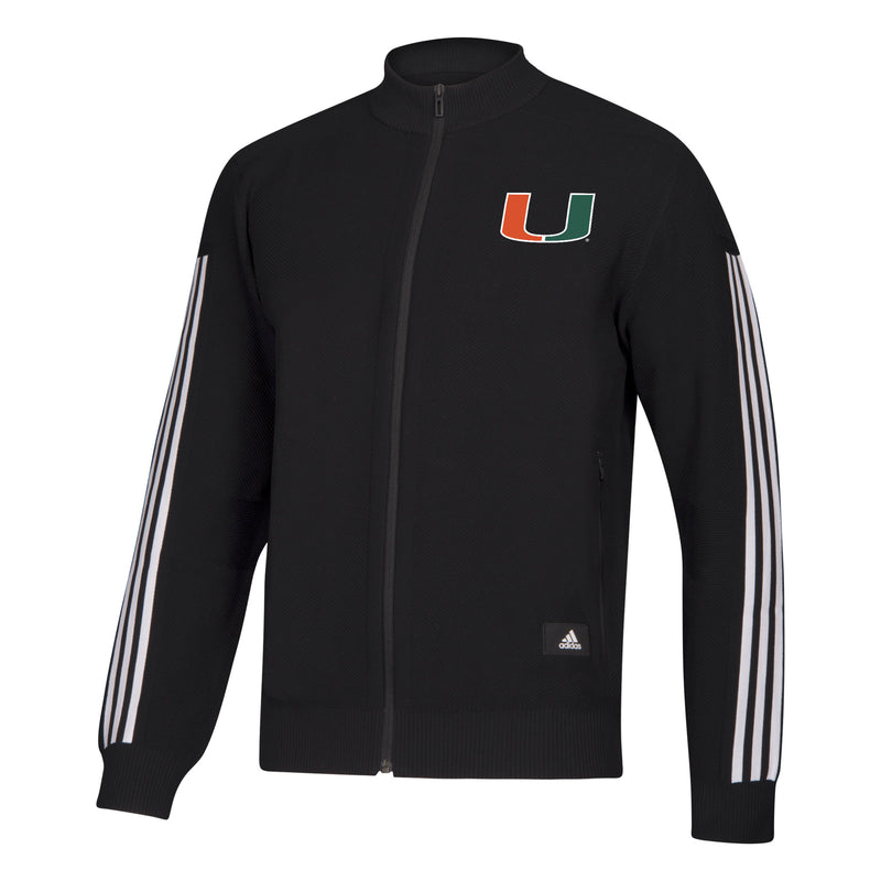 Miami Hurricanes 2019 Stadium ID Ling Sleeve Knit Track Top - Black and White