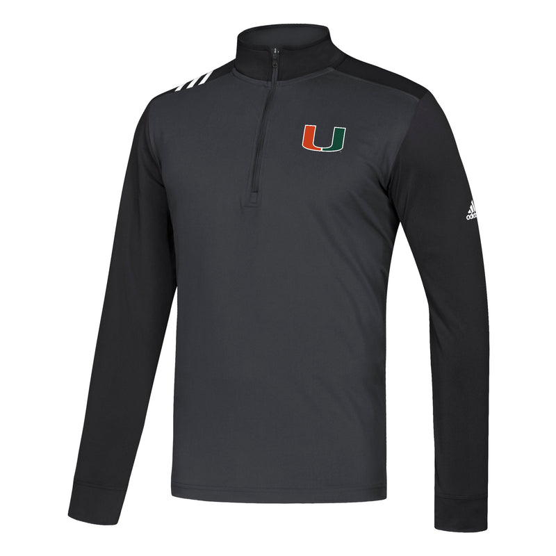 Miami Hurricanes adidas 2019 Adi 3-Stripe 1/4 zip long sleeve