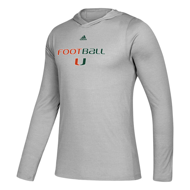 Miami Hurricanes 2019 Freelift Tech Easy Hooded Long Sleeve Tee - Grey