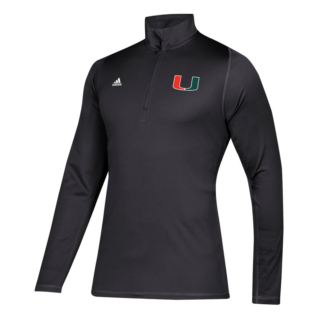 Miami Hurricanes adidas 2019 Freelift Sport Embroidered U 1/4 Zip - Black