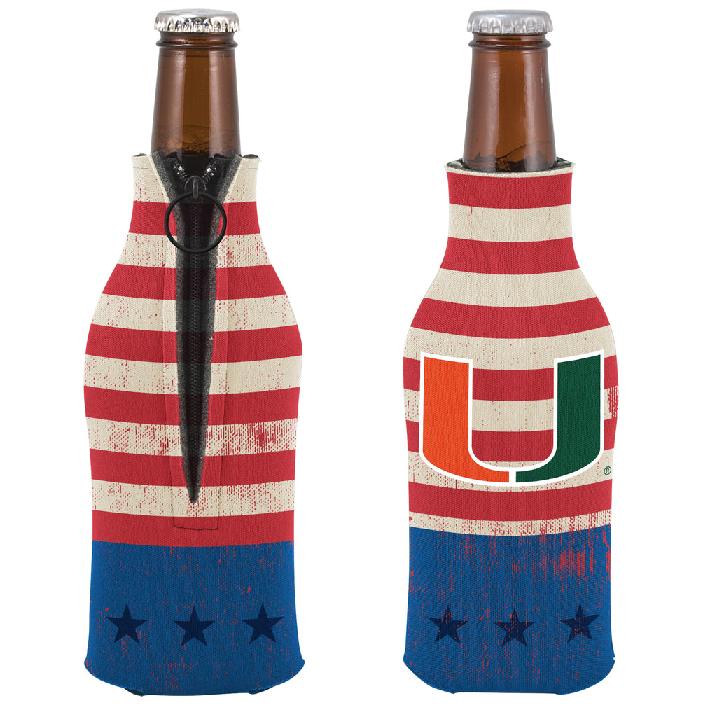 Miami Hurricanes Vintage Flag Zip Bottle Koozie