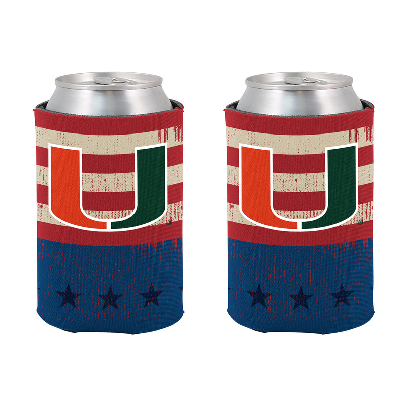 Miami Hurricanes Vintage Flag Can Koozie
