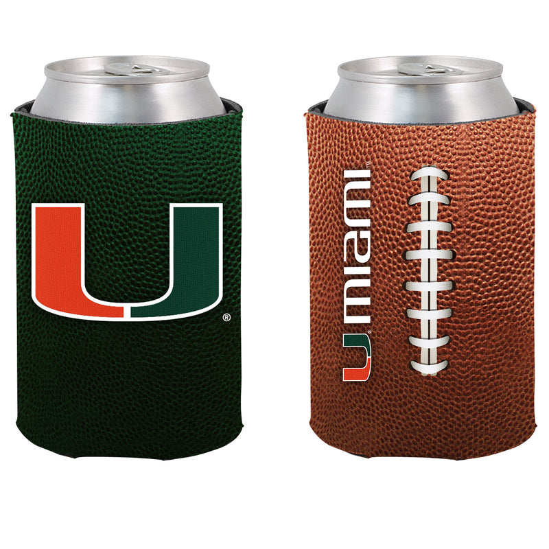 Miami Hurricanes Two Sided Pigskin Can Koozie
