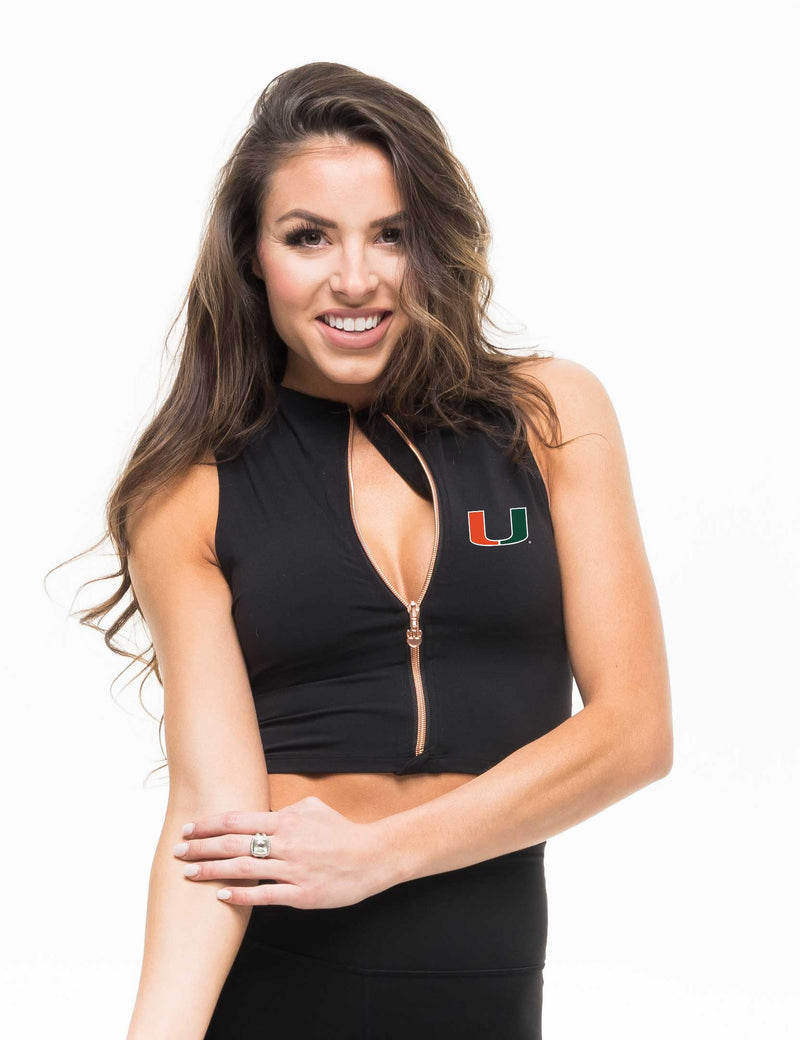 Miami Hurricanes Kadyluxe Zip Midi Crop Top - Black