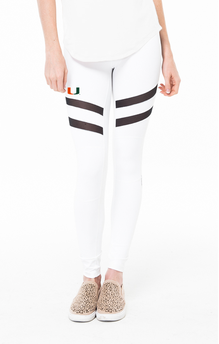 Miami Hurricanes Kadyluxe Mesh Madness Leggings - White