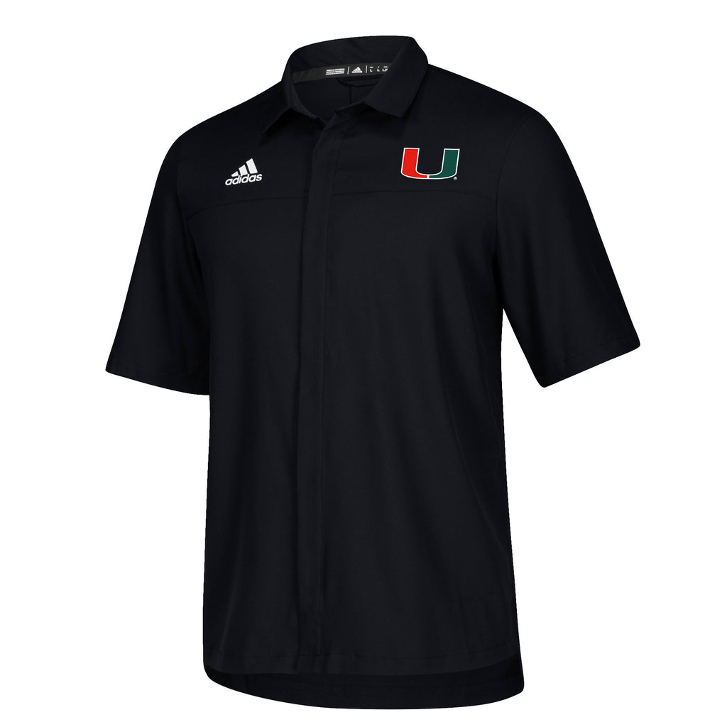 Miami Hurricanes adidas 2018 Sideline Full Button Polo - Black