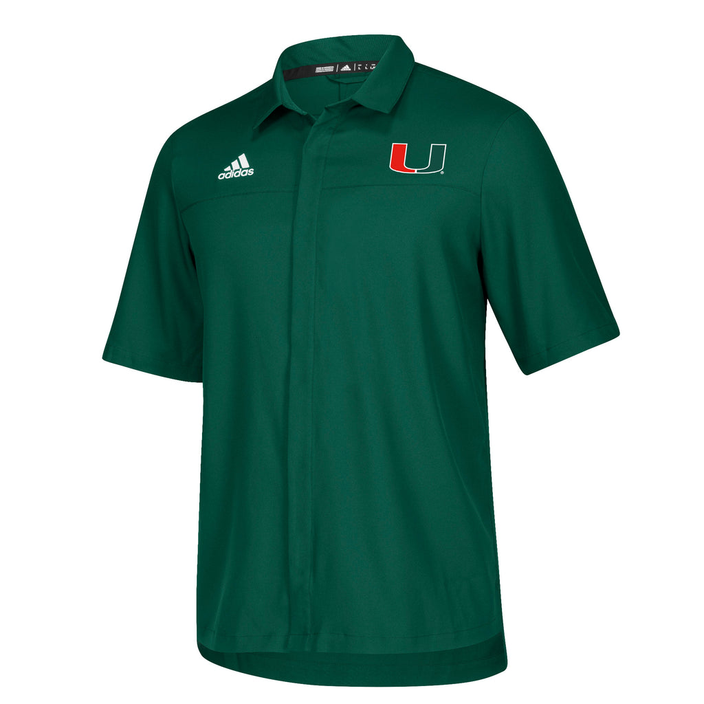 Miami Hurricanes adidas 2018 Sideline Full Button Polo - Green