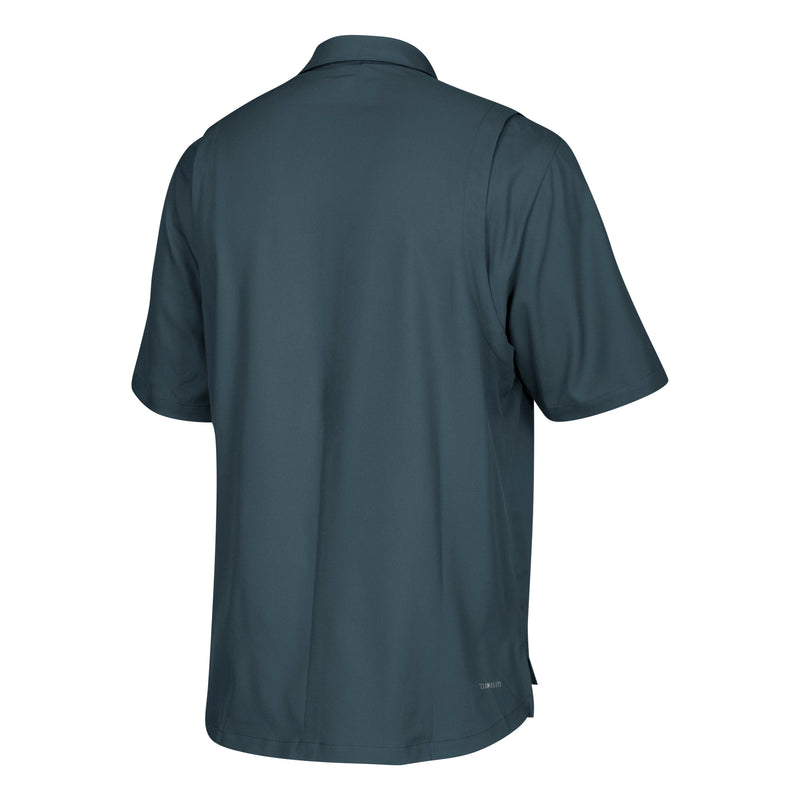 Miami Hurricanes adidas Sideline Full Button Polo - Onyx Grey