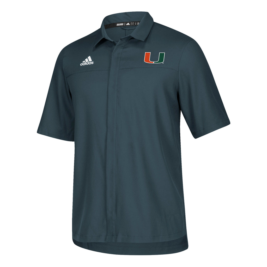 Miami Hurricanes adidas 2018 Sideline Full Button Polo - Onyx Grey