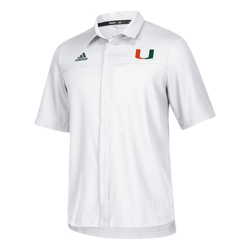 Miami Hurricanes adidas Sideline Full Button Polo - White