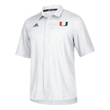 Miami Hurricanes adidas 2018 Sideline Full Button Polo - White