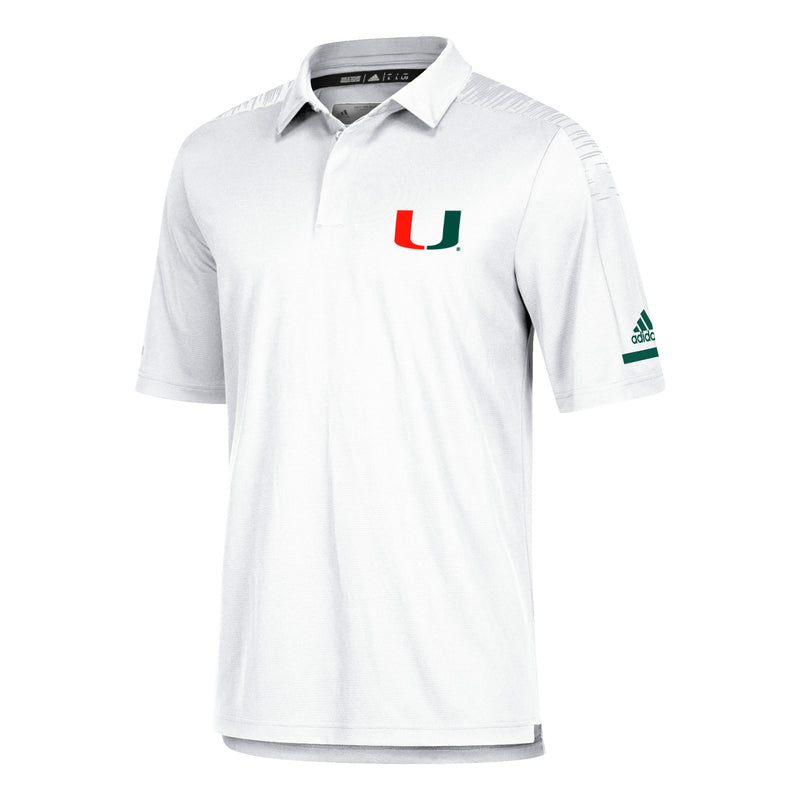Miami Hurricanes adidas 2018 Sideline Coaches Polo - White