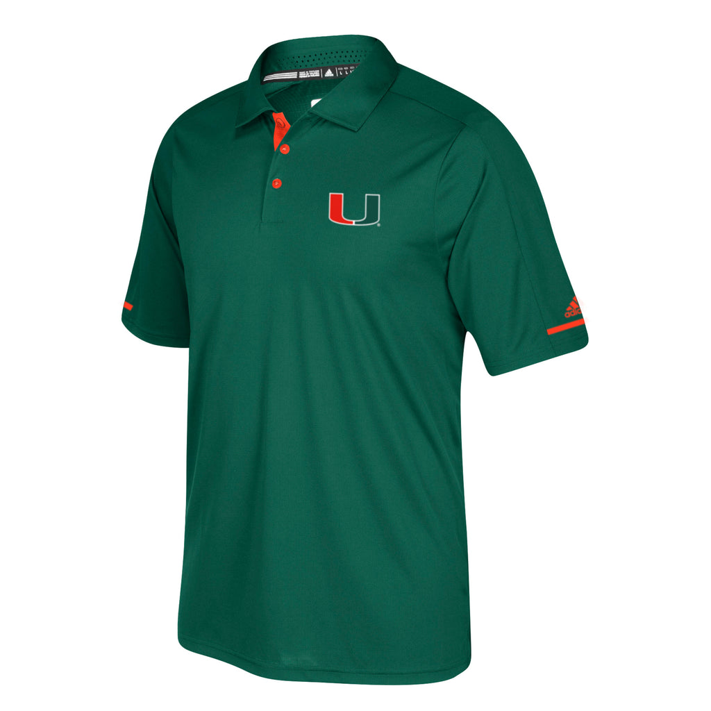 Miami Hurricanes adidas 2017 Men's Climachill Sideline Polo - Green