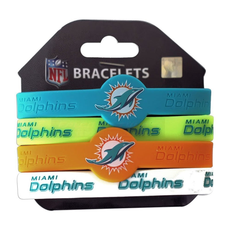 Miami Dolphins Silicone Rubber Wristband Bracelets - 4 Pack
