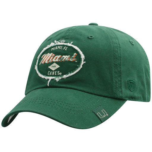 Miami Hurricanes Tatter- Adjustable Hat - Green