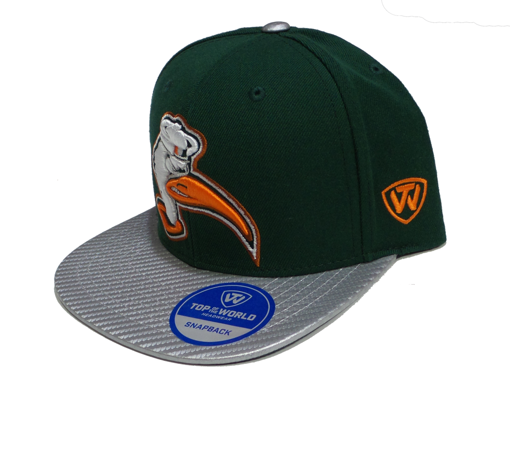 Miami Hurricanes Top of the World Carbonite Adjustable Hat  - Two Tone - CanesWear at Miami FanWear Headwear Top of the World CanesWear at Miami FanWear