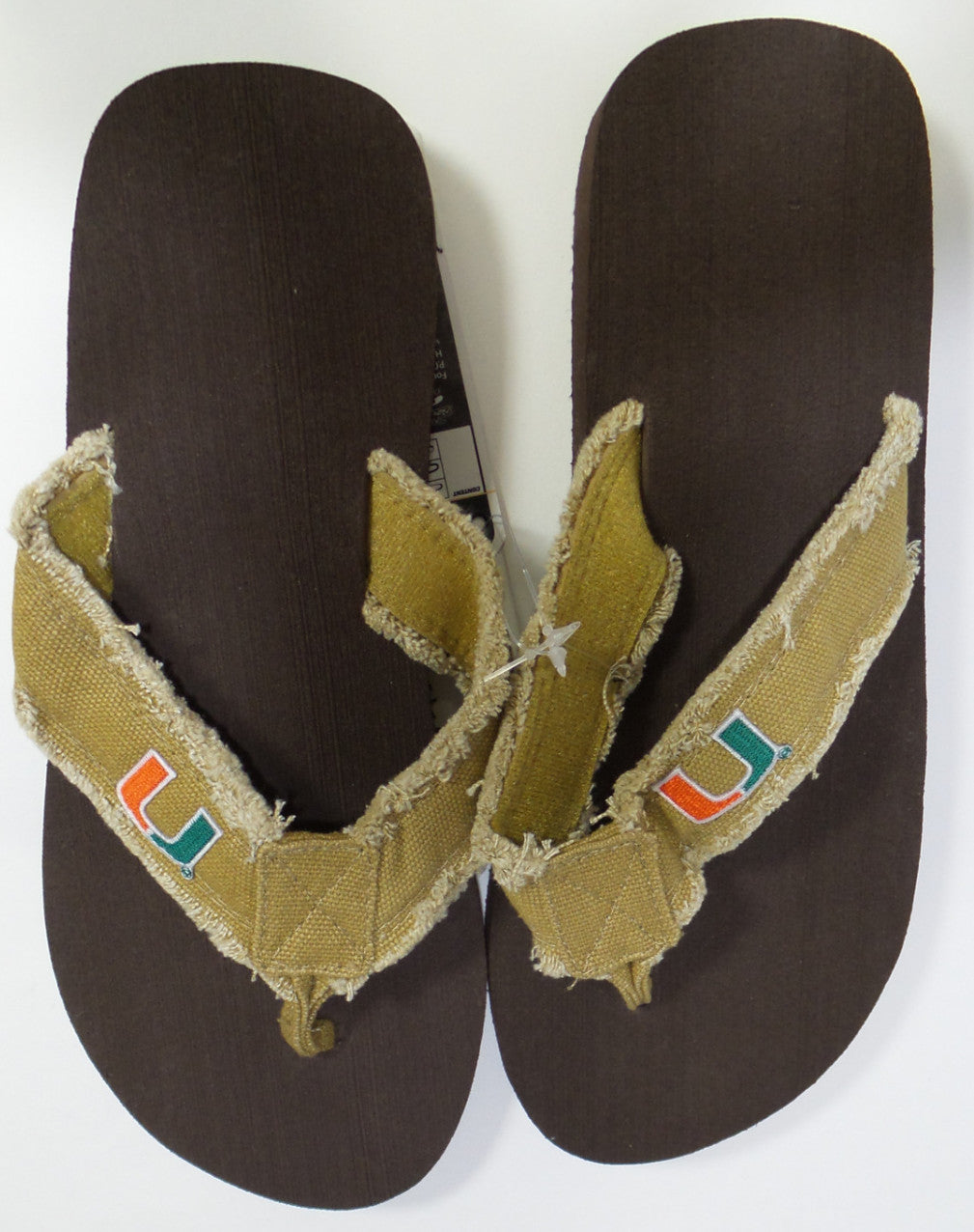 Miami Hurricanes Khaki Frayed Flip Flops - CanesWear at Miami FanWear Footwear FBF Originals CanesWear at Miami FanWear