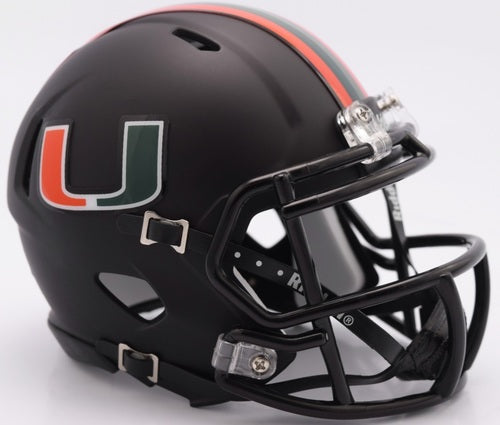 Miami Hurricanes 2017 Miami Nights Speed Riddell Full Size Replica Football Helmet - Black