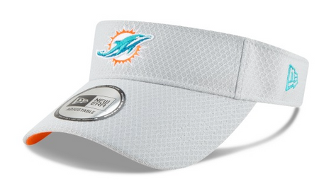 Miami Dolphins New Era Adjustable Training Visor - Grey