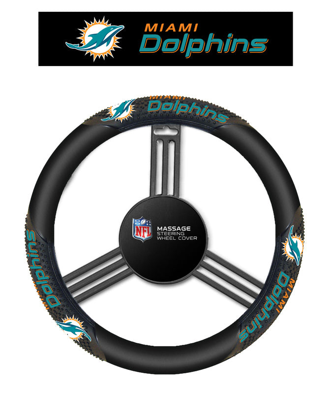 Miami Dolphins Massage Grip Steering Wheel Cover