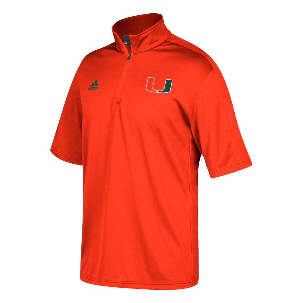 MIami Hurricanes Coaches 1/4 Zip S/S Pullover Shirt - Orange