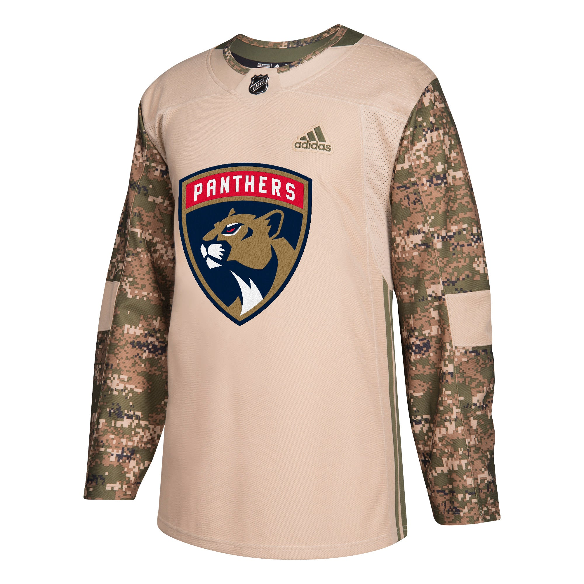 new styles 02bc3 9a0ca Florida Panthers adidas Camo Khaki Authentic Jersey