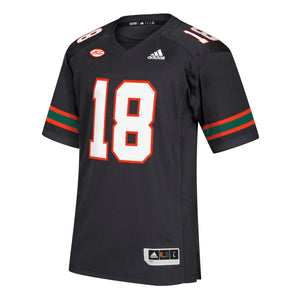Miami Hurricanes adidas 2018 Premier Football Jersey #18 - Black
