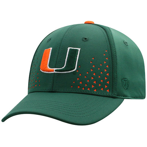 designer fashion e8b59 87064 ... Miami Hurricanes Spectra One Fit Green- Top of the World ...