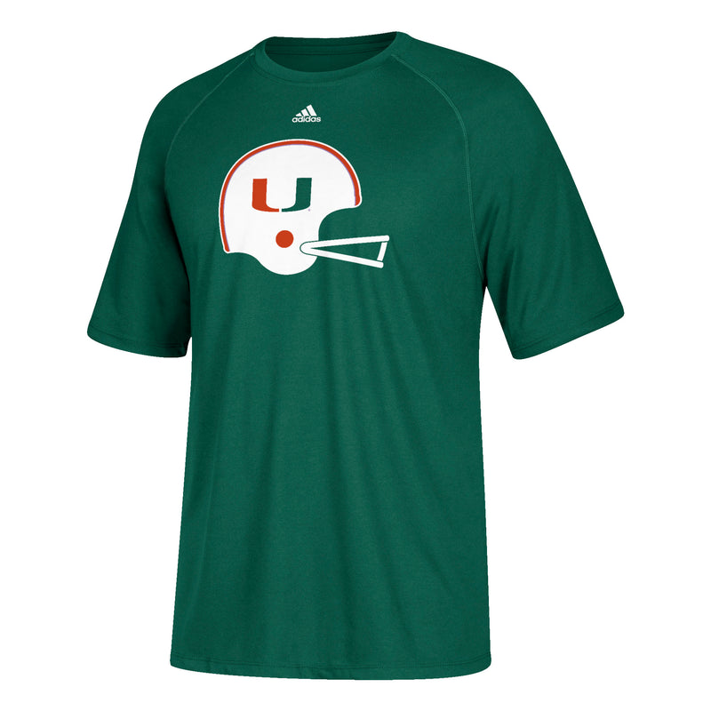 Miami Hurricanes adidas Men's  Climalite Throwback Helmet T-Shirt - Green