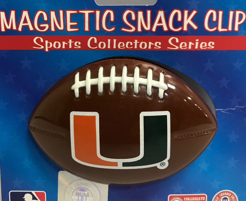 Miami Hurricanes Magnetic Football Snack Clip