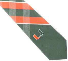 Miami Hurricanes Tie - Woven Poly Grid - CanesWear at Miami FanWear Accesories Eagles Wings CanesWear at Miami FanWear