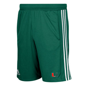 Miami Hurricanes adidas 2018 3-Stripes Knit Shorts - Green