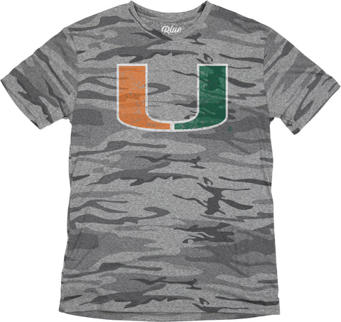 Miami Hurricanes Stars and Stripes Triblend Shirt-  Gray