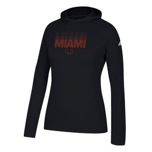 Miami Hurricanes adidas 2018 Women's Repeat Stack Ultimate L/S Hoodie - Black