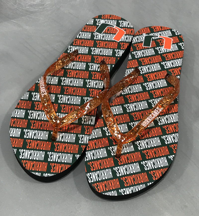 Miami Hurricanes Women's Repeat Wordmark Glitter Thong Flip Flops - Orange