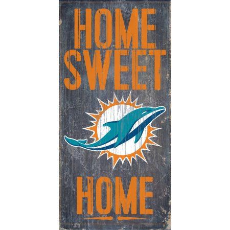 Miami Dolphins Home Sweet Home 6 x 12 Wood Sign