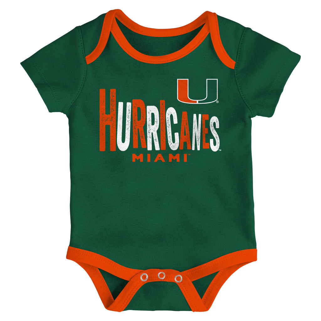 Miami Hurricanes Infant Onesie 3 Piece Set