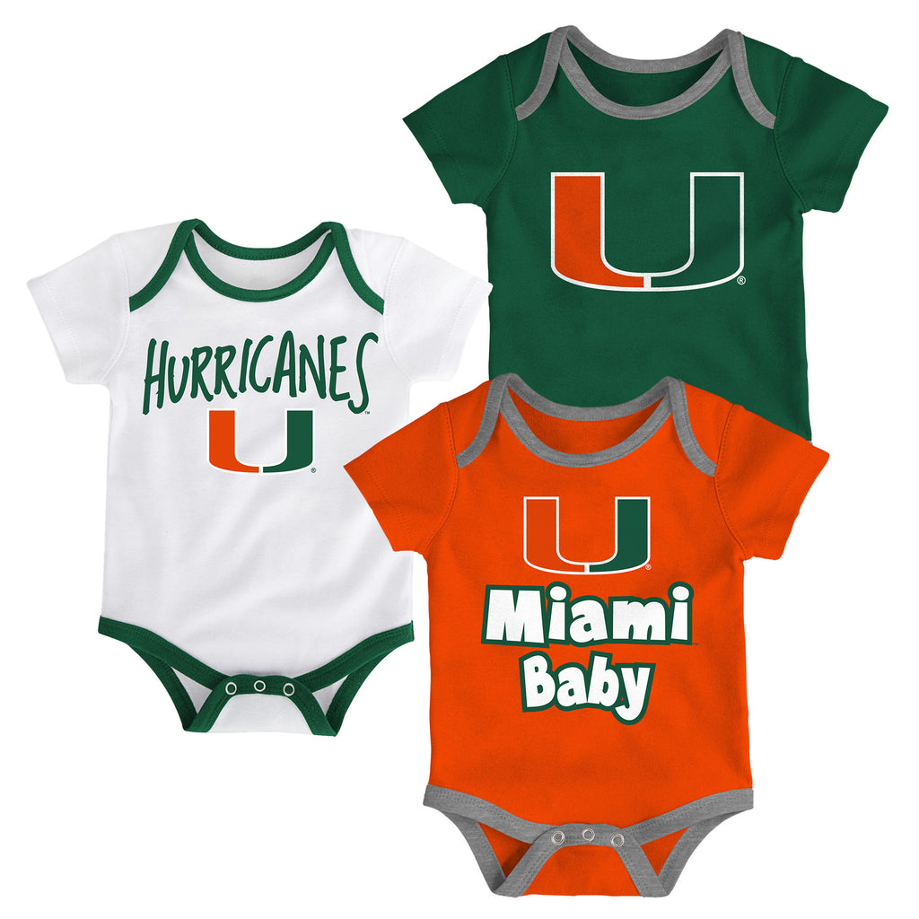 Miami Hurricanes Infant Kicking 3 Piece Creeper Onsie Set