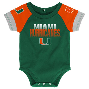 Miami Hurricanes 50 Yard Dash 3 Piece Creeper Set with Bib and Booties - Green/Orange