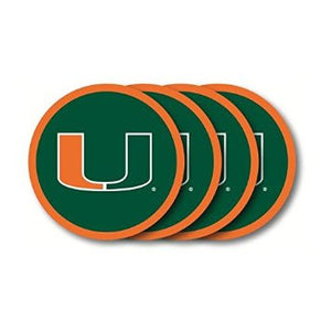 Miami Hurricanes Molded Vinyl Coasters Miami Hurricanes Beverage Coasters - Set of 4 - CanesWear at Miami FanWear Drinkware Duck House CanesWear at Miami FanWear