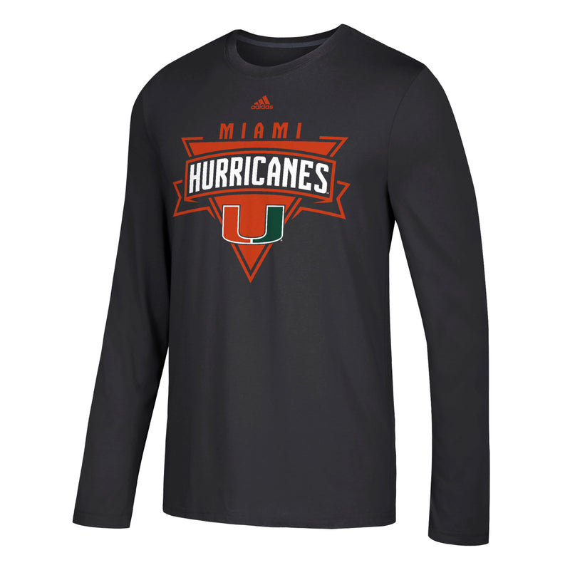 Miami Hurricanes adidas The College Tri L/S Shirt - Black