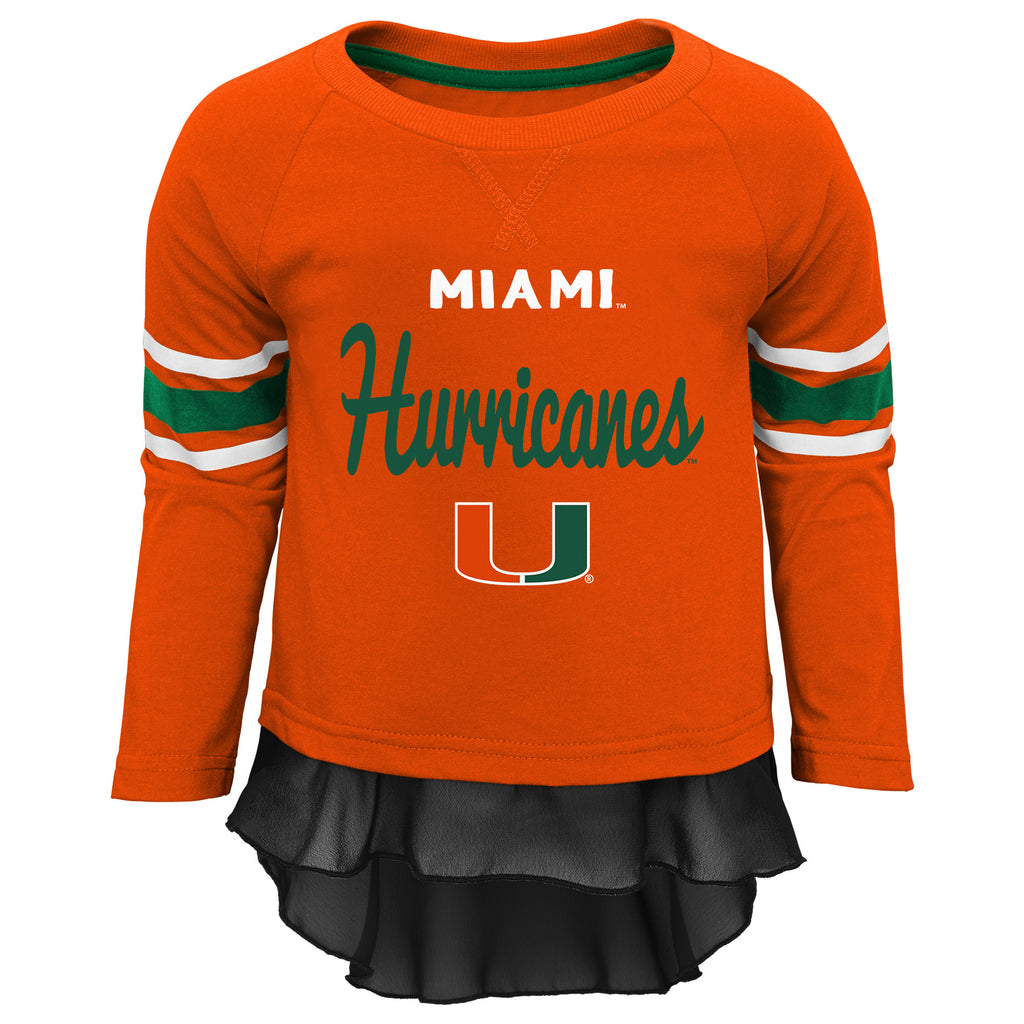 Miami Hurricanes Girls Orange Long Sleeve T-Shirt and Black Leggings Set