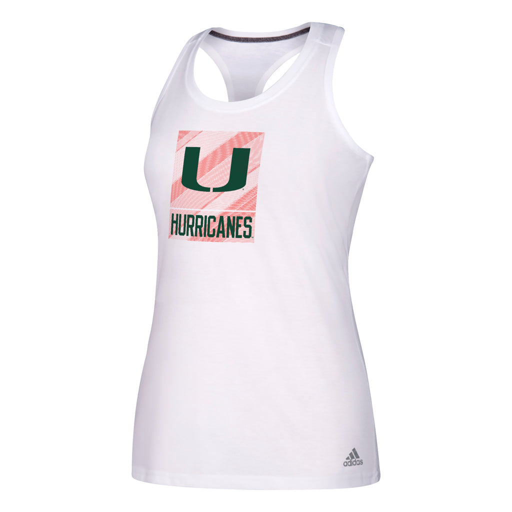 Miami Hurricanes adidas 2018 Women's Dashed Box Logo Ultimate Tank - White