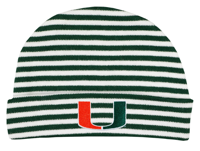 Miami Hurricanes Infant Striped Knit Cap - Green