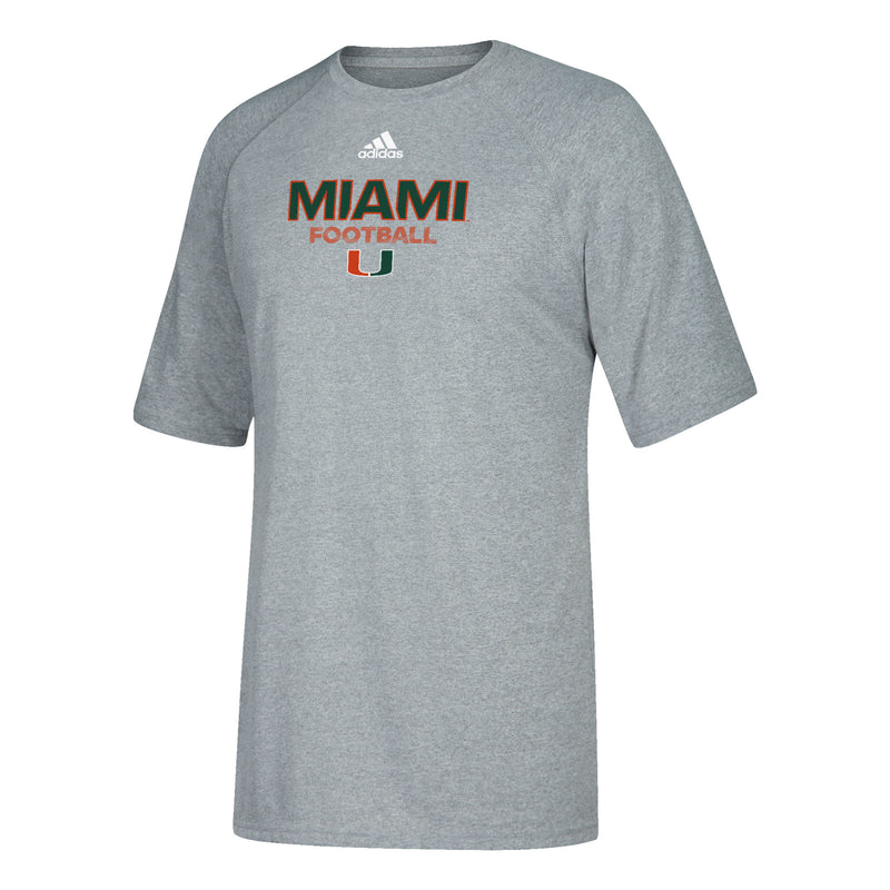 Miami Hurricanes adidas Youth Sideline Rush Football T-Shirt - Gray