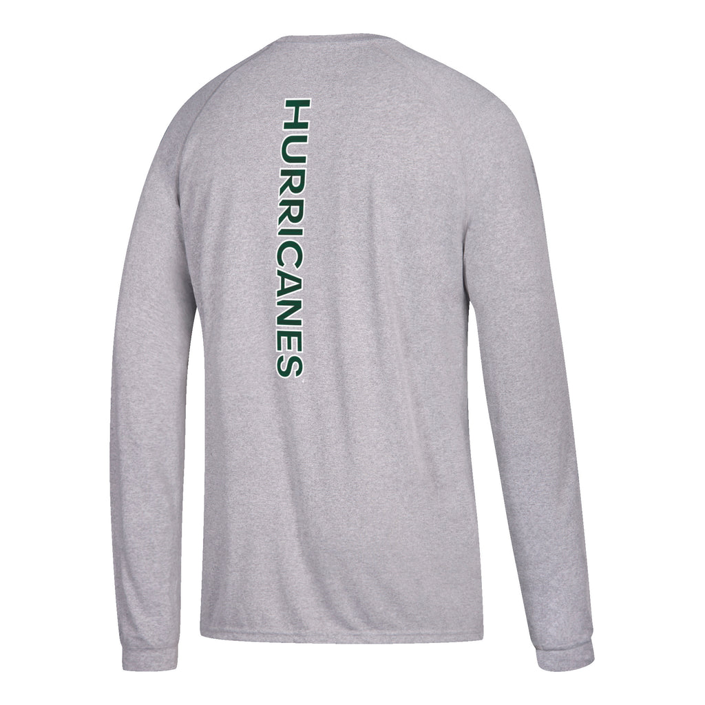 Miami Hurricanes adidas 2018 Youth Sideline Sequel L/S Climalite T-Shirt - Gray