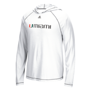 Miami Hurricanes adidas Men's Ultimate L/S Hoodie Tee - White