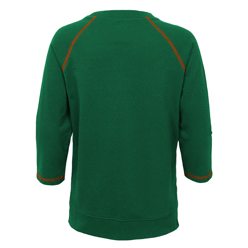Miami Hurricanes Girl's Glitter Script Long Sleeve T-Shirt - Green